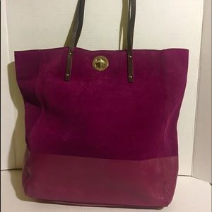 Kate Spade suede/ leather fuchsia hobo handbag
